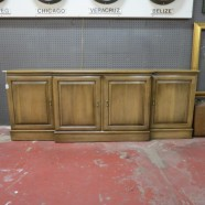 Vintage antique walnut 4 door credenza – $295
