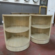 Vintage mid century modern pair of round faux travertine side tables – $195/pair