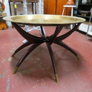 Vintage antique brass tray top coffee table – $450