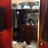 SALE! Vintage antique manoir mirror with stone panels – $158
