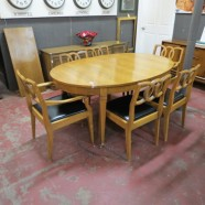 Vintage antique 7 pc walnut dining set – $695