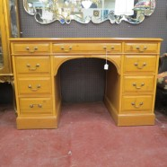 Vintage antique sligh pine desk with leather top – $395