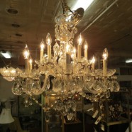 Vintage antique glass and crystal 12 arm chandelier – $1599