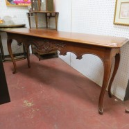 Vintage antique walnut carved sofa/console table – $425