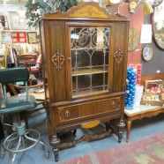 Vintage antique Tudor style walnut china/display cabinet – $350