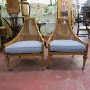 Vintage mid century modern unusual walnut lounge chairs – $395/pair