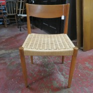 Vintage mid century Danish teak chair with rope seat – $65