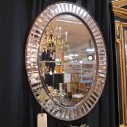 Vintage Hollywood glam oval mirror – $99
