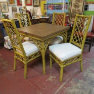 Vintage mid century rattan dining table and 4 chairs – $295