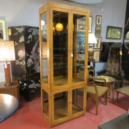 Vintage mid century modern burled wood vitrine/display cabinet – $395