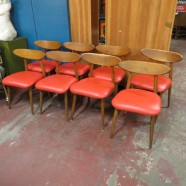 Vintage mid century modern set of 8 walnut chairs – $895