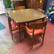 Vintage mid century modern walnut dining table – $350/set