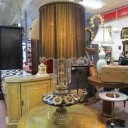 Vintage antique large black/gold lamp – $49