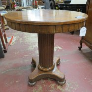 Vintage antique round oak pedestal side table – $125