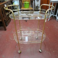 Vintage mid century modern brass and glass bar cart – $199