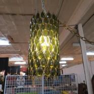 Vintage mid century modern green crystal swag chandelier – $85