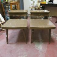 Vintage mid century modern walnut laminate step side tables – $149/pair
