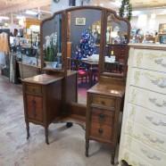 Vintage antique walnut triple mirror vanity – $395