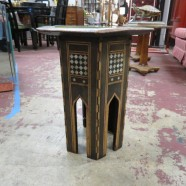 Vintage antique small Moroccan inlaid wood hexagon table – $250