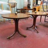 vintage mid century modern pair of small walnut tables – $140