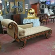 SALE! Dramatic vintage antique Regency Style large chaise lounge – $695