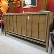 Vintage MCM ash blonde walnut credenza chest dresser – $575