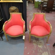 Vintage antique pair of carved Louis XVI style salmon silk armchairs – $695