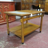 Vintage midcentury modern walnut two tier side table with tile insert – $65