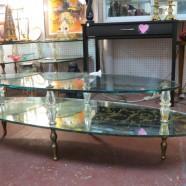 Vintage midcentury modern Hollywood mirror & glass coffee table – $150
