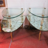 Vintage midcentury modern Hollywood glam pair of mirror & glass side tables – $450/pair