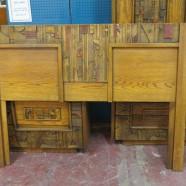 Vintage midcentury modern Lane Mosaic Collection queen size headboard – $495