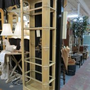 Vintage midcentury modern Ficks & Reed rattan bookcases – $595/each