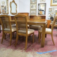 Vintage midcentury modern Drexel dining table and 6 chairs – $495