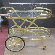 Vintage mid century modern brass & glass bar cart – $325