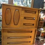 Vintage mid century modern walnut chest/dresser – $345