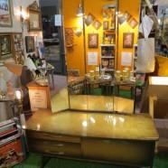 Vintage mid century modern West German triple mirror vanity – $300