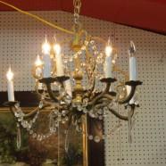 Vintage antique brass and crystal 10 light chandelier – $385