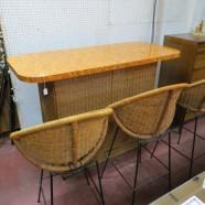 Vintage mid century modern rattan bar and three stools – $495/set