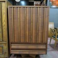 Vintage mid century modern unusual walnut pedestal armoire – $850