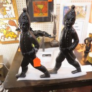 Vintage antique pair of figural S.M Howes Co. iron andirons – $595/pair
