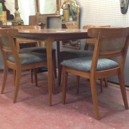 Vintage mid century modern table and four chairs – $720/set