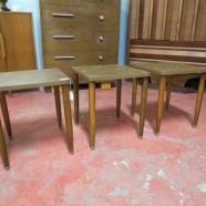 Vintage mid century modern 3 stackable walnut table set – $65/set
