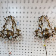 Vintage antique pair of gilt metal and crystal Italian 3 light sconces – $495/pr
