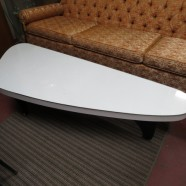 Vintage mid century modern white lacquered boomerang coffee table – $375