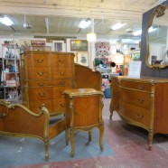 Vintage antique Louis XV French style walnut 5 pc bedroom set – $1495