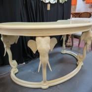 Vintage mid century modern Hollywood glam lacquered elephant desk – $1395