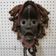 SALE! Vintage carved wood African Dan mask – $395