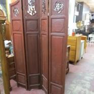 Vintage antique carved wood Asian folding screen – $395