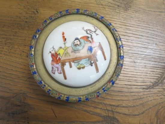SALE! Vintage antique Chinese brass and enamel box with porcelain top – $95
