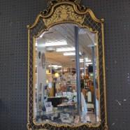 Vintage antique style black & gold gilt mirror – $195